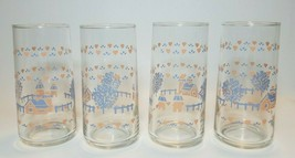 4 Glass Tumblers Pink Blue Farm Trees Hearts Country Drinking Glasses Li... - $19.75