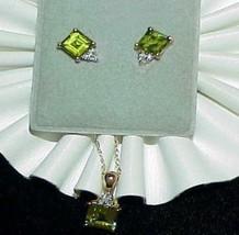 10K Square Peridot Diamond Necklace & Earrings Set Yellow Gold - $395.99