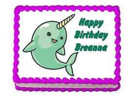 Narwhal party edible cake topper frosting sheet - $8.86