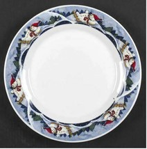 Individual Dinner Plate Snow Valley by ONEIDA Blue Theme Snowman Width 10 1/4 in - $14.01