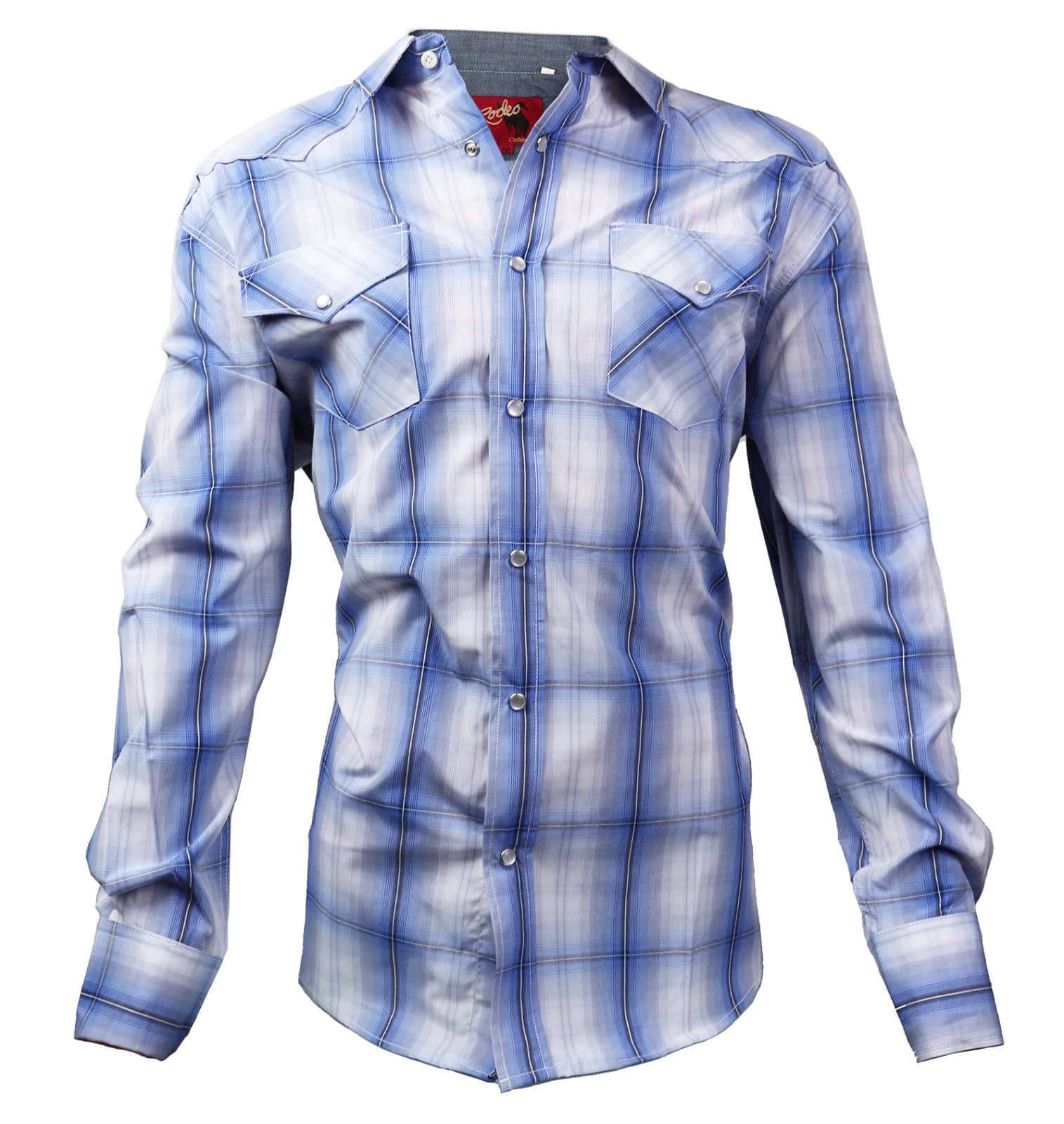 Rodeo Clothing Men's Western Cowboy Pearl Snap Plaid Dress Shirt NEW /W DEFECT