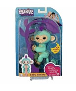 Fingerlings Baby Monkey Zoe Interactive Turquoise blue Purple Hair WowWe... - $19.79