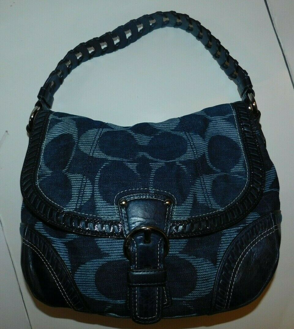 Primary image for Coach Poppy Denim Blue Signature Hobo Bag Handbag 18991