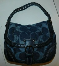 Coach Poppy Denim Blue Signature Hobo Bag Handbag 18991 - $109.99