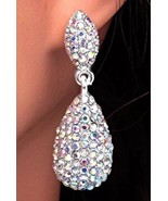 AB Rhinestone Teardrop Pierced Earrings Dangle Drop Bridal Wedding Party  - $15.84