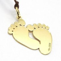Yellow Gold Pendant 750 18K, Feet, Footprint, for Birth, Engravable image 3