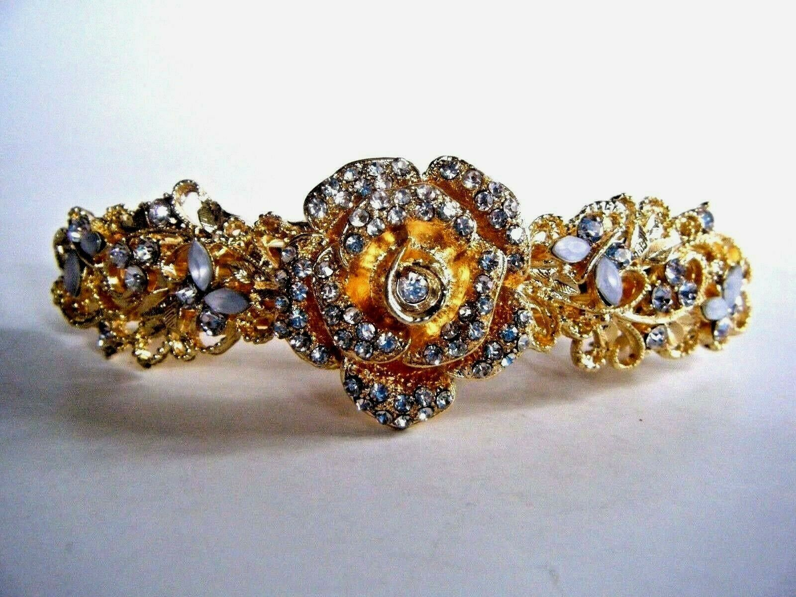 Primary image for Gold Tone Metal Hair Clip Barrette Rose Design With Clear Stones New
