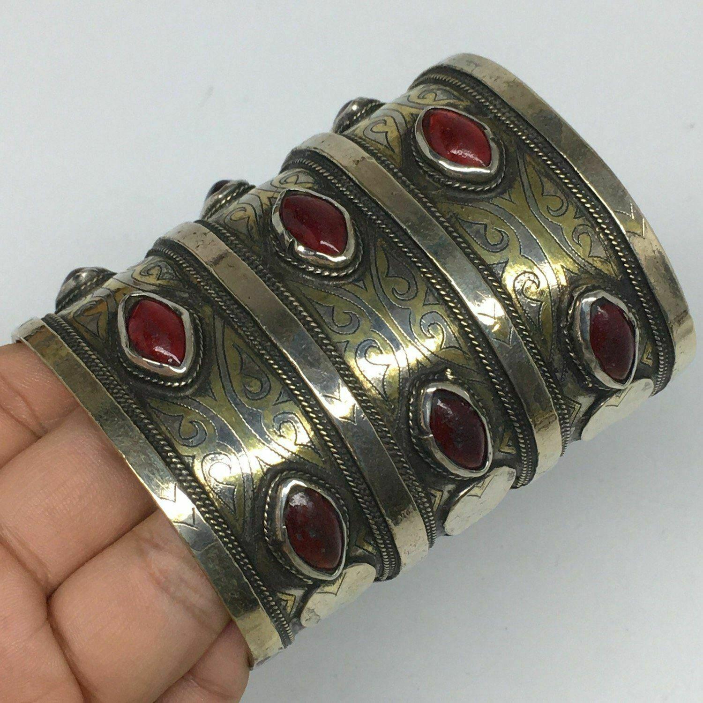 """140.6g, 3.3""""x2.7"""" Turkmen Bracelet Cuff Old Vintage Gold-Gilded Statement,TN693"""
