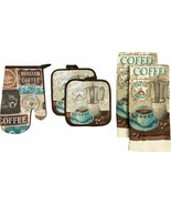 5 pc SET: 2 POT HOLDERS,1 OVEN MITT & 2 TOWELS, COFFEE CUP & COFFEE BREW... - $13.85