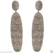 Sterling Silver 7.8ct Natural Diamond Pave Dangle Earrings 14k Gold Fine... - $1,336.75