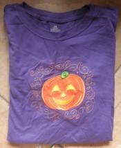 shirt halloween purple with orange pumpkin nwt size girls large (12-14) - $9.41