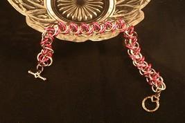 Chain Mail Artisan Bracelet Anodized Aluminum Elf Weave Hot Pink Gray Gi... - $15.99