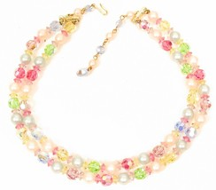 Easter! Vintage Colorful Glass Crystals Faux Pearl 2 Strand Choker Neckl... - $54.40