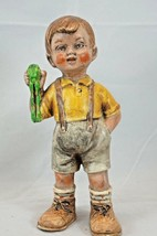 Vintage Hummel Style Ceramic Rosy Cheeked Boy with Frog and Suspenders 6... - $19.34