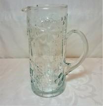 Vintage Ice Tea Pitcher w/ Handle. Embossed Floral Design. 1970's - $38.60