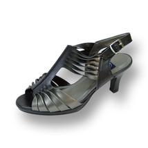 PEERAGE Lexi Women Wide Width Wavy Leather Strap Designed Heel Sandals - $35.95