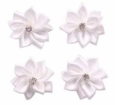 YAKA 60Pcs White Satin Ribbon Flowers Bows Rose W/Rhinestone Appliques C... - $10.18