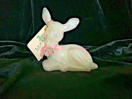 Fenton Art Glass Mother of Pearl Fawn Deer Pink Ribbon Porcelain Rose - $39.00
