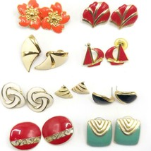 Vintage Lot of 9 Chunky Enamel Colorful 1980's Earrings Clip On & Post - $54.44