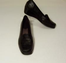 A2 by Aerosoles Tempting Womens 9M Black Wedge Loafers Slip On Animal Pr... - $12.99