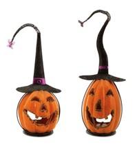 """Melrose 2 Orange Crackle Finish Halloween Jack-O-Lantern Candle Holders 15"""" - $68.05"""