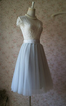 Lady GRAY Tulle Skirt A Line Full Pleated Gray Tea Skirts Custom Size NWT image 5