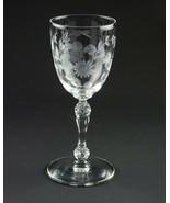 "Heisey Stem 4055 Grey Cut Floral Wine Glass, Vintage Elegant Glass 4 5/8"" - $34.30"