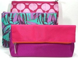 3pc Clinique Cosmetic Makeup Bags (Pink, Purple, Green) - $10.98