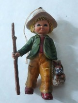 """Bradford Novelty Boy Collectible Figurine holding basket with bunny 3 1/2"""" - $12.23"""