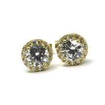 18K YELLOW GOLD BUTTON EARRINGS CUBIC ZIRCONIA ROUND WITH FRAME FLOWER SUN 7 MM image 1
