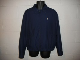 French Navy Blue Khaki Polo Ralph Lauren Bi-Swing Windbreaker Large - $34.99