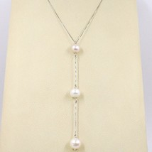 Necklace White Gold 18k, Pendant Pearls Pink,Purple,White, Chain Venetian - $331.08