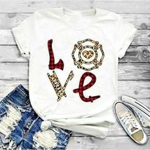 Love Firefighter Ladies T-Shirt White Cotton S-3XL - £15.28 GBP