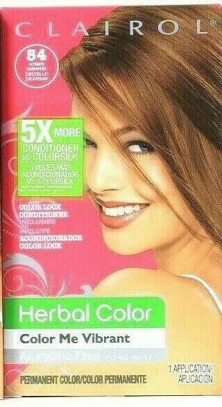 1 Clairol Herbal Color Me Vibrant 54 Amber Shimmer Light Pure Golden Brown Dyes - $20.99