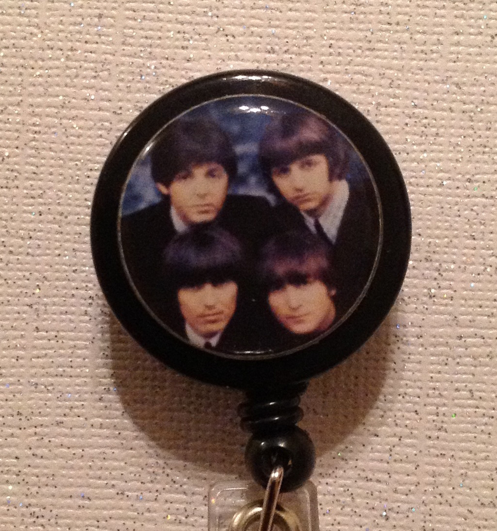Primary image for Beatles Badge Reel Id Holder Lanyard Four Faces Black Handmade Alligator Clip