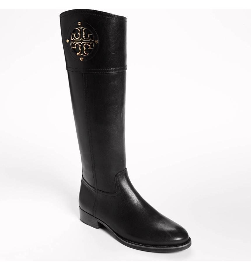 412b830042ea 4165. 4165. Previous.  495 Tory Burch Kiernan Riding Boots Tall Flat  Equestrian Booties 5.5 Gold Logo