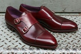 Handmade Men's Burgundy Leather Double Monk Strap Shoes image 4