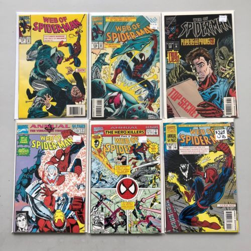 Lot of 12 Web of Spider-Man (1985 1st Series) #48-123 Annual 7 8 10 VF Very Fine