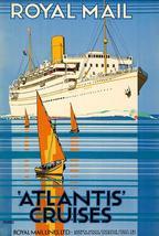 Atlantis Cruises - 1930's - Royal Mail Lines - Travel Poster - $9.99+