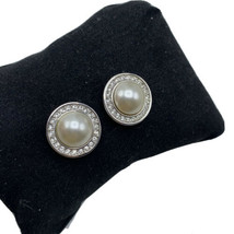 Vintage Signed L Round Faux Pearl & Crystal Earrings Stud Silver Tone - $12.16