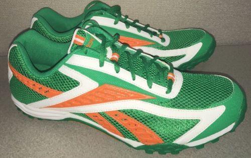 b50879bc834e Reebok Track and Field Spike Athletics Sprint Green Orange White 12 EU 45.5  NWOB