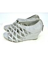 Women's 9 M Eileen Fisher Cage Wedge Shoe Sandal Metallic Silver + Bag EUC - $119.00