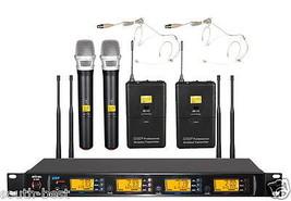 Pro UHF 4X100CH 2 Handheld 2 Beige Headset Wireless Microphone System EM22  - $395.01