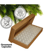25 Direct Fit 30.6mm CHRISTMAS ORNAMENT Coin Capsules w/Hook for JFK HAL... - $10.35