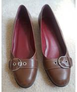 Coach Brett brown leather flats Size 7 width B Buckle detail - $22.00