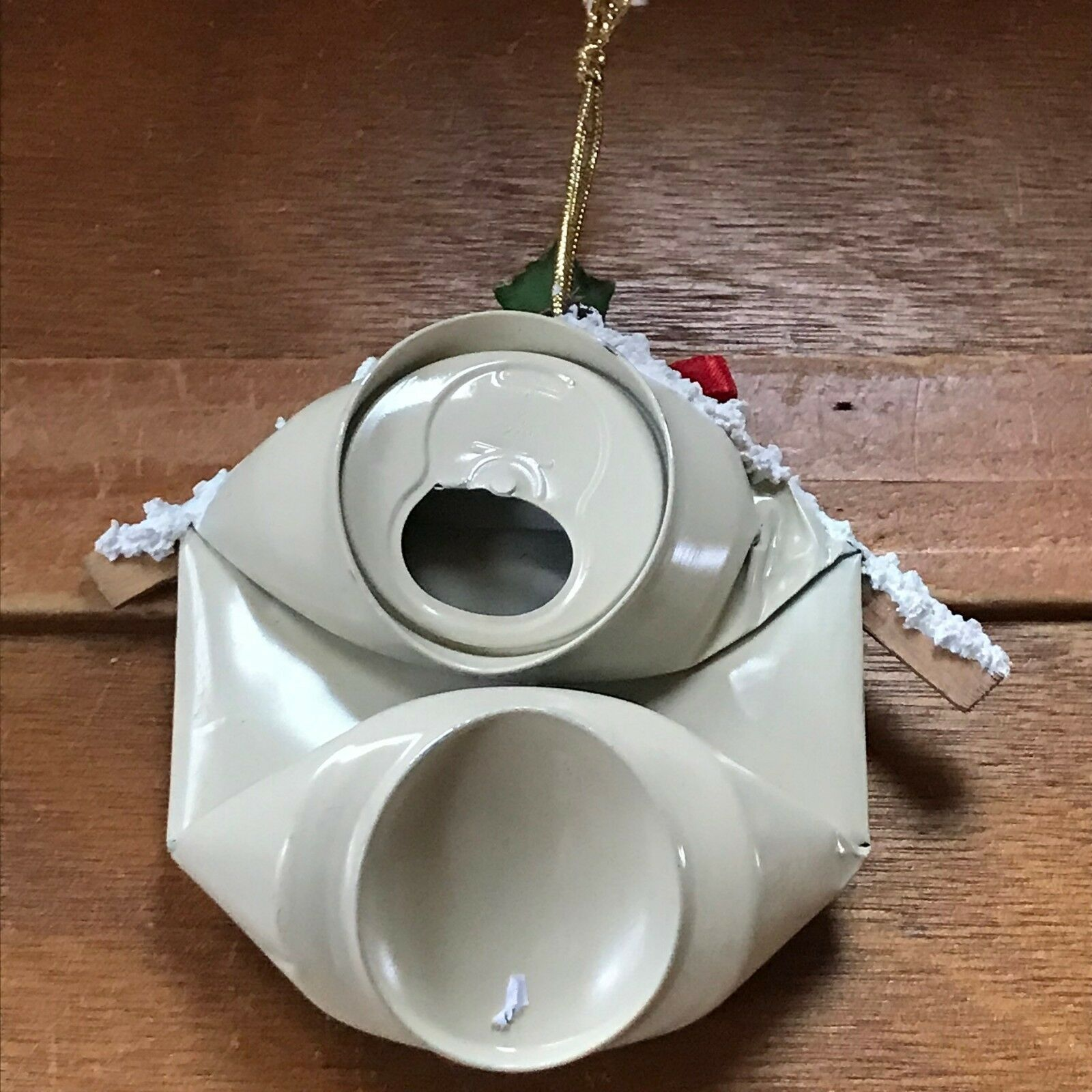 Handmade Repurposed Soda Can Holly Painted Bird House Christmas Tree Ornament –
