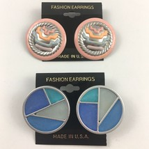 Vintage Pierced Earrings Lot 80s Big Pastel Pink Puff Paint Blue Round P... - $14.79