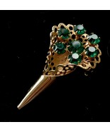 GREEN Rhinestone FLOWER BOUQUET Gold-tone Brooch - 2 inches long - $35.00
