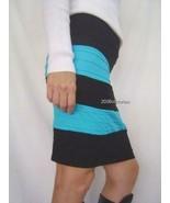 New BEBE Black Blue Colorblock Pencil Skirt P/S - $22.00