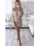 Off Shoulder Mini Party Dress - Silver Fringed Sequins - $27.00